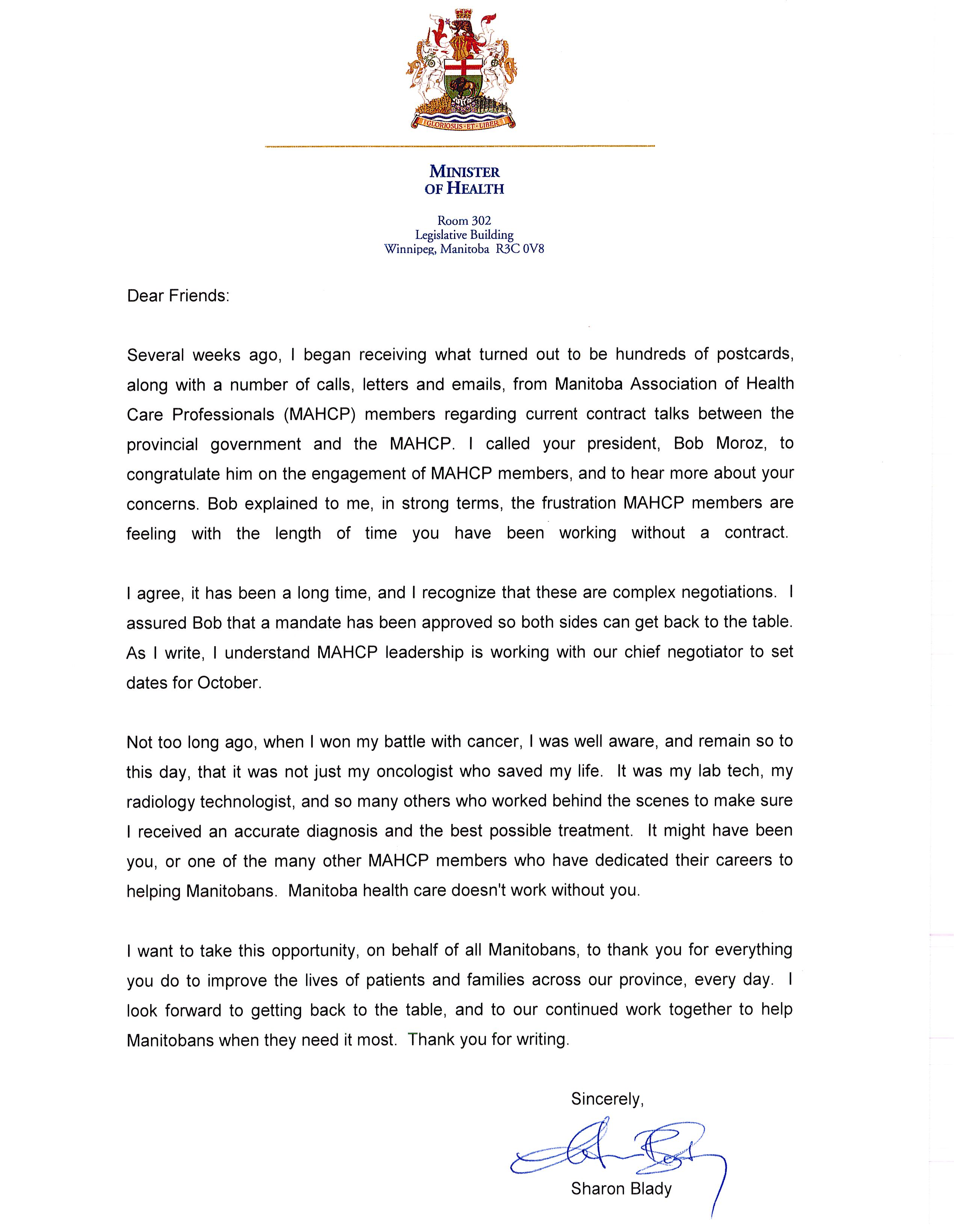 Letter to mahcp members from the honorable sharon blady minister of letter from min of health oct 2015 spiritdancerdesigns Images